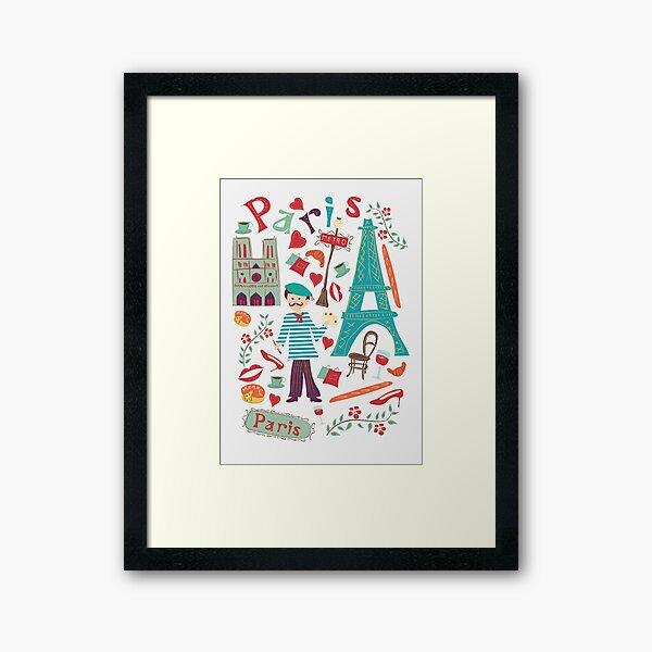 Cute symbols from Paris Framed Art Print