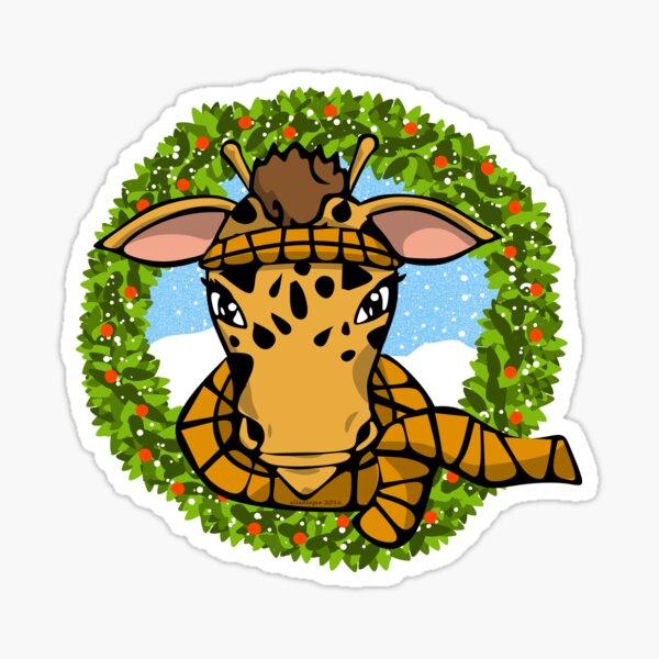 Winter Giraffe Sticker