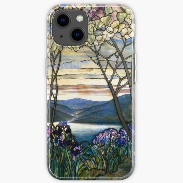 Magnolias and Irises Stained Glass Window iPhone Soft Case