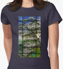 Dogwood Stained Glass Window Womens Fitted T-Shirt