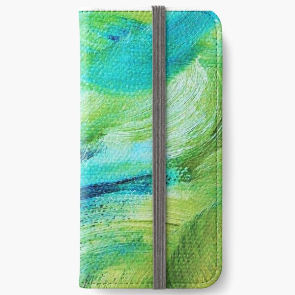Blue and Green Impasto iPhone Wallet