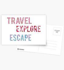 Travel Explore Escape- 3 Pack Postcards