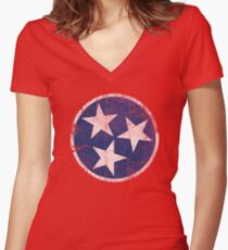 Vintage State Flag of Tennessee Women's Fitted V-Neck T-Shirt