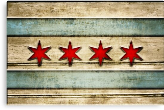 Distressed Wood Chicago Flag Look by frittata