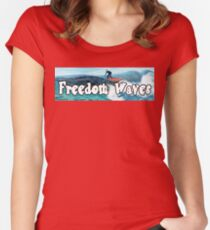 Trump Surfing - Freedom Waves Women's Fitted Scoop T-Shirt