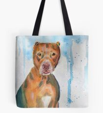 Red Nose Pit Bull Loose Watercolor Portrait Tote Bag