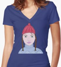 Cute Girl with Big Green Eyes and a Red Hat on a Snowy Scene with her Skis  Women's Fitted V-Neck T-Shirt