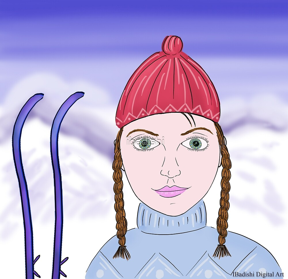 Cute Girl with Big Green Eyes and a Red Hat on a Snowy Scene with her Skis  by ibadishi