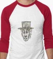 Man with Hat Head Pencil Drawing Illustration Men's Baseball ¾ T-Shirt
