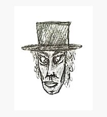 Man with Hat Head Pencil Drawing Illustration Photographic Print