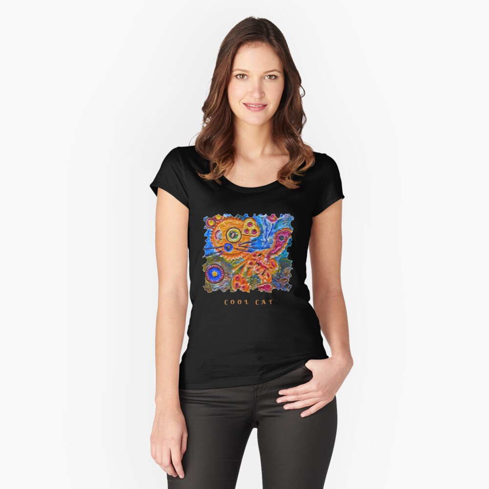 STEAMPUNK ART - COOL CAT  Fitted Scoop T-Shirt