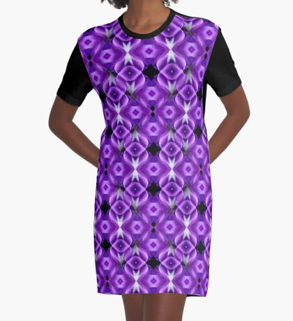Purple Passion Abstract Pattern Graphic T-Shirt Dress