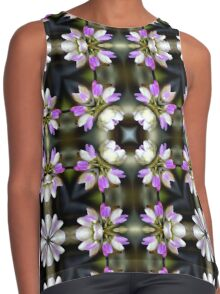 Pink And White Flower Abstract Contrast Tank