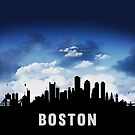 Boston Massachusetts Skyline Cityscape Nightfall by T-ShirtsGifts