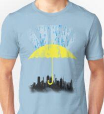 Gelber Regenschirm Unisex T-Shirt