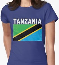 Tanzania Distressed Flag Sport Design Women's Fitted T-Shirt
