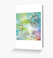 Flying balloons Greeting Card