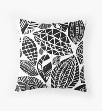 Geometrical nature print / little geometric leaves Throw Pillow