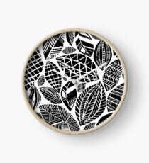 Geometrical nature print / little geometric leaves Clock