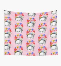 frida kahlo head flowers Wall Tapestry