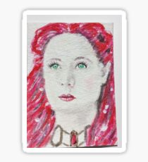Red  haired  woman  watercolor Sticker