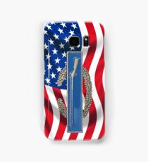 Combat Infantry Badge on American Flag - iPhone Case Samsung Galaxy Case/Skin