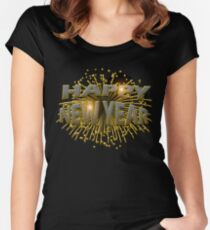 Happy New Year Unique Gold Fireworks New Years Eve T-Shirt Women's Fitted Scoop T-Shirt