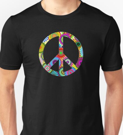Peace Sign Cool Retro Flowers Design T-Shirt