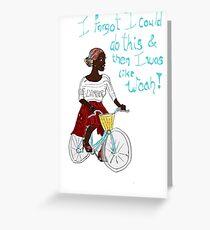 Joyful Ebony African Cyclist Bicyclist Greeting Card
