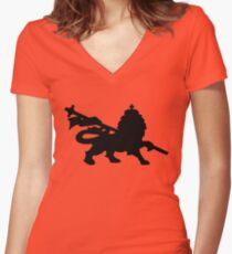 rasta lion judah dub Women's Fitted V-Neck T-Shirt