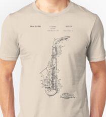 Camiseta ajustada Dibujo de patente de saxofón de 1933