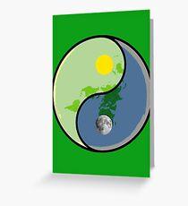 Flat Earth YIN Sun YANG Moon Greeting Card