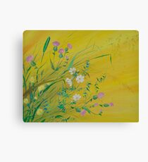 Field Flowers on Yellow Canvas Print