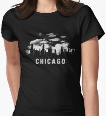 Chicago Illinois Skyline Cityscape Womens Fitted T-Shirt