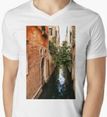 Impressions Of Venice - Small Canal Hugged by a Fig Tree Mens V-Neck T-Shirt
