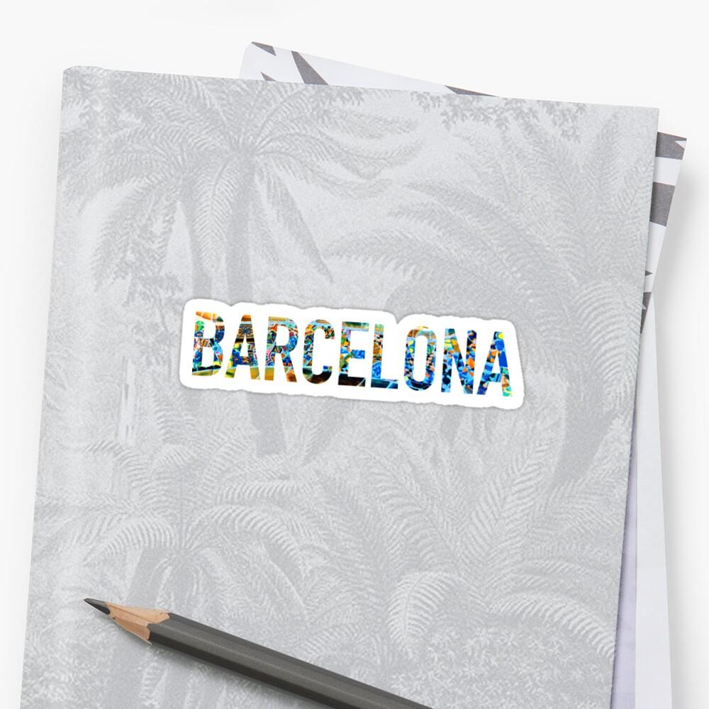 Etiqueta engomada del parque Guell de Barcelona Pegatina