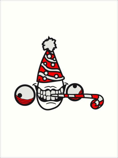 Geburtstag Party Feiern Hut Trote Geschenk Wahnsinnig Gesicht Comic