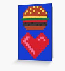 8-BIT BURGER LOVE Greeting Card