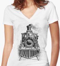 Vintage Locomotive Train - Front Facing Women's Fitted V-Neck T-Shirt