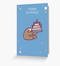 Happy Birthday Cake Sloth Greeting Card