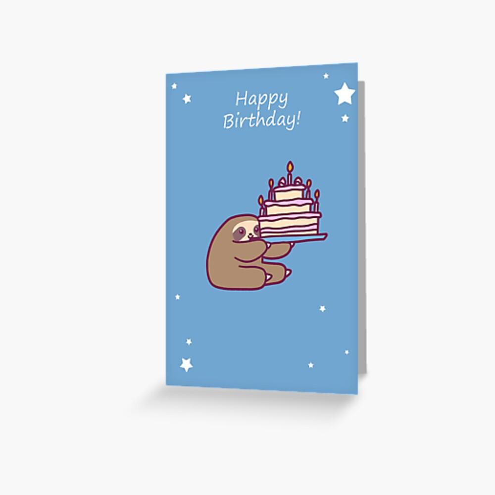 Happy Birthday Cake Sloth Greeting Card