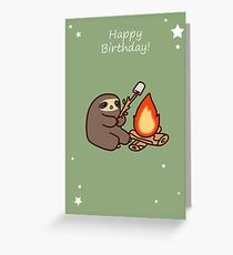 Happy Birthday Campfire Sloth Greeting Card