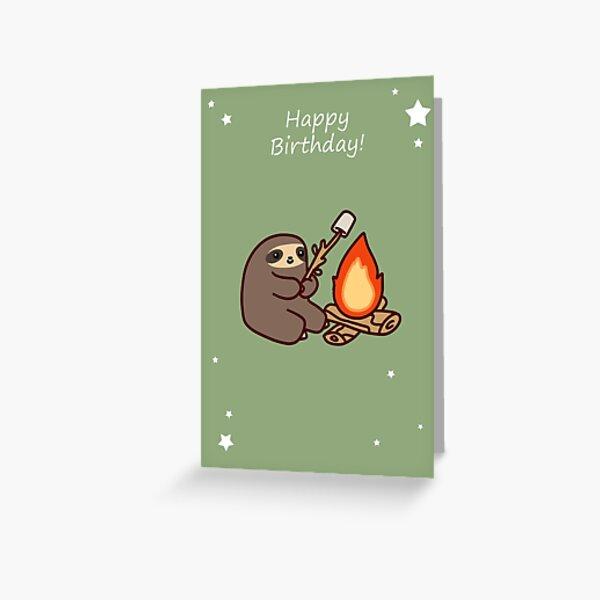 Happy Birthday Campfire Sloth Greeting Card