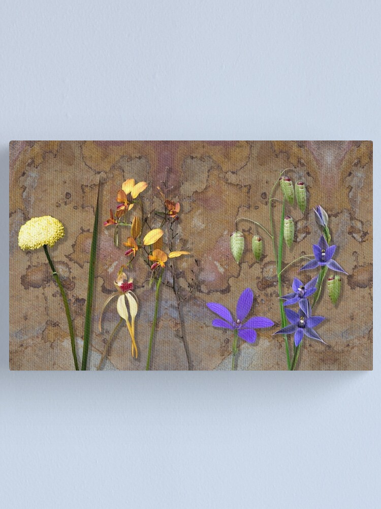 Alternate view of Orchids and Wildflowers on old rusty Pink n Caramel Metal Canvas Print