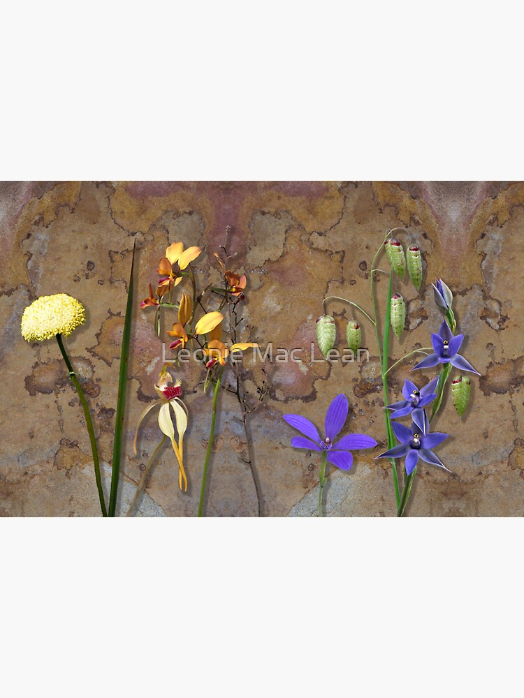 Orchids and Wildflowers on old rusty Pink n Caramel Metal by yallmia