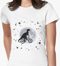 Dinosaur Moon Womens Fitted T-Shirt