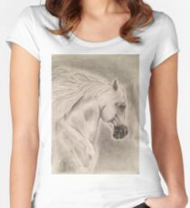 Artistic Running Horse Women's Fitted Scoop T-Shirt