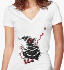 Evil Tree Under the Mistletoe Women's Fitted V-Neck T-Shirt