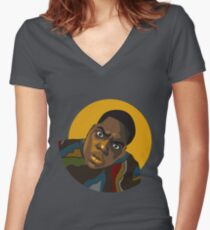 Notorious B.I.G. Illustration Women's Fitted V-Neck T-Shirt