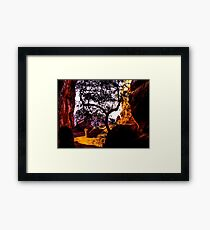 Scene from a a ravine, Badami, Kanartaka, India Framed Print